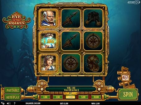 Выигрышная комбинация символов в автомате Eye of the Kraken