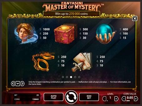 Выплаты в слоте Fantasini: Master of Myster